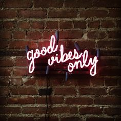 Good Vibes Only Mounted Neon Sign, Ready-Made by MarcusConradPoston on Etsy https://www.etsy.com/listing/244412711/good-vibes-only-mounted-neon-sign-ready