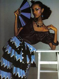 Yves Saint Laurent,Spring/Summer 1980: Claus Ohm Model: Iman