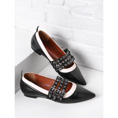 d326ae4c813 Two Tone Grommet Detail PU Flats ( 41) ❤ liked on Polyvore featuring shoes