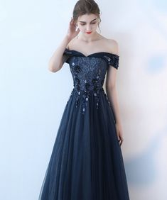 Junoesque Dark Navy Evening Gowns 2018 Sexy Sweetheart Tulle Appliques Beading Lace-Up Lady Evening Dress Long Party Dresses New