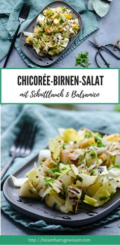 Der perfekte Wintersalat: Chicoree-Birnen-Salat mit Balsamicodressing. Ein gesundes, veganes Essen für die kalte Jahreszeit. Blitzschnell zubereitet, auch gut zum Abnehmen geeignet. #vegan #rezept #birne #salat #winterrezept