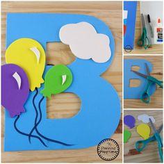 Letter B Craft - Planning Playtime - olivia Letter E Craft, Alphabet Letter Crafts, Abc Crafts, Letter B, Crafts For Kids, Alphabet Board, Letter E Activities, Kindergarten Activities, Preschool Activities
