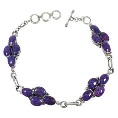 Southwest Magenta Turquoise Sterling Silver Link Bracelet www.silvertribe.com