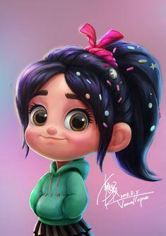ArtStation - Wreck It Ralph Ying Hu - yellowpick Kawaii Disney, Disney Princess Pictures, Disney Princess Drawings, Disney Pictures, Cute Disney Characters, All Disney Princesses, Disney Films, Disney Pixar, Cute Cartoon Pictures
