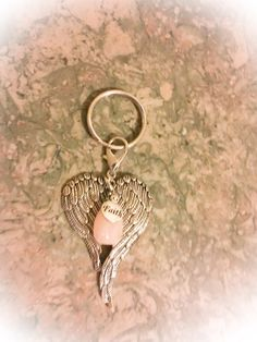 Rose Quartz Crystal, Big, Beautiful Angel Wings with Faith Tag Keyring/ Keychain with FREE Bag & Angel Message Card. Love Crystal.