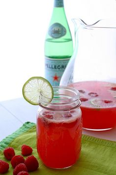 Raspberry Limeade. Too bad summer is on its way out the door! Guess it could be a nice Holiday drink too?