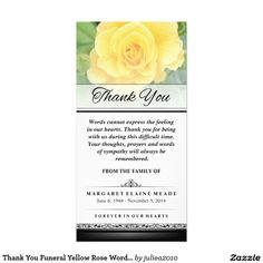 Thank You Funeral Yellow Rose Words Cannot Express Photo Card