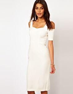 Image 1 ofASOS Pencil Dress With Off Shoulder Detail