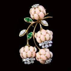 Coral, Diamond And Emerald Brooch  -  House Of Kahn Estate Jewelers