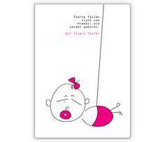 Einladung zur Taufe: Sterne fallen nicht - http://www.1agrusskarten.de/shop/einladung-zur-taufe-sterne-fallen-nicht/    00012_0_1276, Anzeige, Baby, Geburt, Glück, Grußkarte, Helga Bühler, Klappkarte, Spruch, Sterne, Taufe, Zitat00012_0_1276, Anzeige, Baby, Geburt, Glück, Grußkarte, Helga Bühler, Klappkarte, Spruch, Sterne, Taufe, Zitat