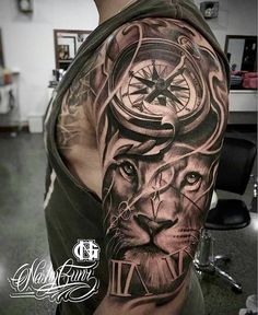 "7,267 Likes, 39 Comments - TattoosForMen ⭕ (@tattoosformen_) on Instagram: ""Badass lion 1/2 sleeve tattoo Artist IG: @nashygunz ------------------ ▶For SHOUTOUTS click the…"" #tattoosformenbadass"