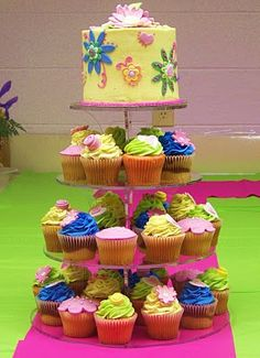 cute mix of cake and cupcakes.