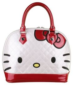 ab31ad505d4d Sanrio Hello Kitty Loungefly Ivory Gunmetal Red and White Patent Leather  Quilted Satchel 23% off retail