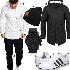 Schwarz-Weißer Street-Style für Männer (m0808) #adidas #fossil #jogginghose #hoodie #outfit #style #fashion #womensfashion #womensstyle #womenswear #clothing #frauenmode #damenmode #handtasche  #inspiration #frauenoutfit #damenoutfit