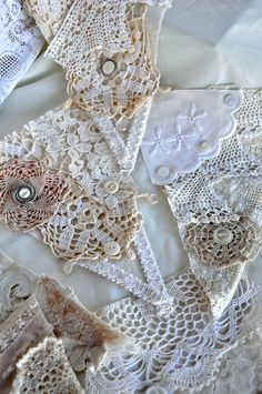 Vintage Lace and Linen bunting- Wedding -Shabby Chic Decor- photo booth prop- Recycled Vintage Flags                                                                                                                                                                                 More