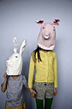trendy diy paper mache mask for kids animal heads Making Paper Mache, Paper Mache Mask, Animal Masks, Animal Heads, Mascara Papel Mache, Diy Paper, Paper Art, Paperclay, Little Doll