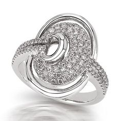Peter Lam Micro Pave` Diamond Oval Ring in 18K White Gold