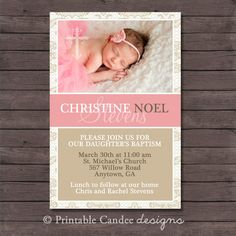 Elegant Girl Baptism or Christening Invitation Pink Invitations, Birthday Invitations, Christening Invitations Girl, Baby Dedication, Baby Girl Christening, Baby Blessing, Elegant Girl, Baptism Party, Name Day
