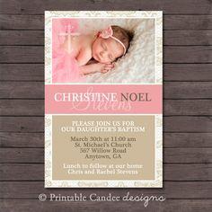 Elegant Girl Baptism or Christening Invitation - DIY Custom Printable on Etsy, $10.00