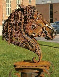 Welded Metal Sculpture from the fabulous western art by John Lopez. One of my favorite artists. Metal Yard Art, Metal Tree Wall Art, Scrap Metal Art, Metal Artwork, Welded Metal Art, Sculpture Metal, Horse Sculpture, Art Sculptures, Sculpture Ideas