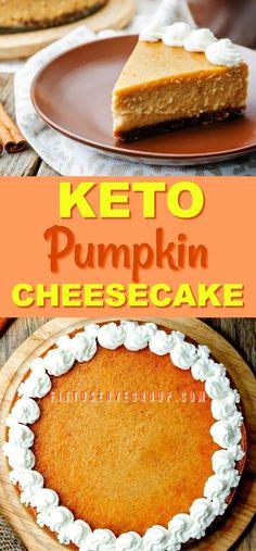 Keto Pumpkin Cheesecake Pie, To Help You Celebrate Autumn This delicious recipe for Keto Pumpkin Cheesecake Pie is low in carbs and keto-friendly. The perfect solution for pumpkin season while doing keto. Low Carb Pumpkin Cheesecake, Low Carb Pumpkin Pie, Pumpkin Pie Recipes, Keto Cheesecake, Pumpkin Pies, Raspberry Cheesecake, Pumpkin Dessert, Keto Friendly Desserts, Low Carb Desserts