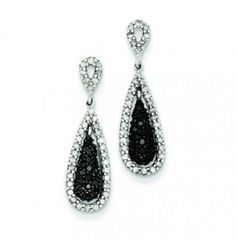 Sterling Silver Black And White Diamond Double Teardrop Post Dangle Earring Studs