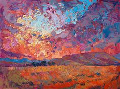 Vivid colorful, contemporary impressionism oil painting in a modern style, after Van Gogh.
