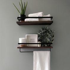 2PCS Rustic Wooden Floating Shelves Wall Storage Shelf Kitchen Bathroom Multifunction with Removable Towel Holder, Strong Black Metal Frame