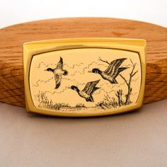 Vintage Wood Flying Duck Weed Pond River Belt Buckle by ArtCGecko, $34.95