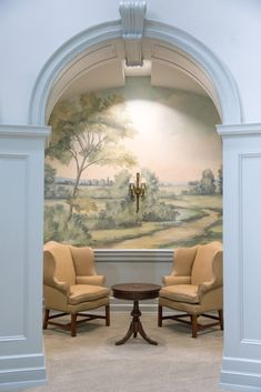 Scenic landscape mural wallpaper inspired by the English countryside, painted and printed by Susan Harter. Entrance foyer hall in Samford University in Alabama. Scenic Wallpaper, Landscape Wallpaper, Wallpaper Murals, Wall Murals, Wall Art, Fresco, Hedsor House, Living Room Murals, Foyer Design