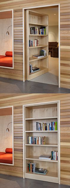 Door doubles as bookcase. #interiordesign