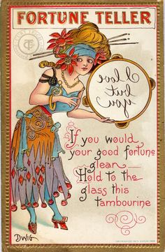 """One of a series of fortune teller postcards by Clare Victor Dwiggins """"Dwig"""" (June 16, 1874 – October 1958)"""