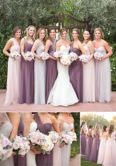These bridesmaid dresses are fabulous!! Mismatched bridesmaid dresses on purple and blush pink. | See more: Mix It Up: 15 Mix and Match Bridesmaid Dresses Done Right | mysweetengagement.com | #mixandmatchbridesmaiddresses #bridesmaids #bridesmaiddresses