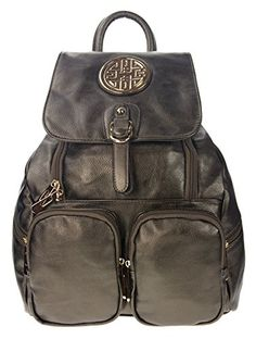 Canal Collection Flaptop Double Pockets Fashion Backpack With Emblem Pewter ** You can get more details by clicking on the image.