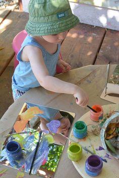 Reggio Inspired Mirror Nature Painting for Toddlers – Meri Cherry, – natural playground ideas Reggio Emilia Classroom, Reggio Inspired Classrooms, Toddler Classroom, Outdoor Classroom, Classroom Decor, Toddler Art, Toddler Crafts, Infant Toddler, Toddler Activities
