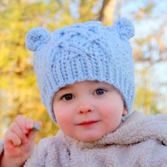 Crochet patterns - Little Bear Cable Hat -  Crochet Hat PATTERN number 114 - Baby toddler and childrens sizes included. $5.50, via Etsy.