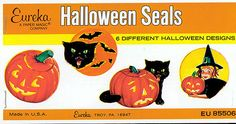 Vintage Halloween Ephemera ~ Eureka Halloween Seals · Jack O' Lanterns, Black Cats, Witch