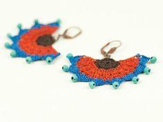 Earrings-Ethnic Style Crochet Beadwork by PinaraDesign on Etsy