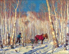 March in the Birch Woods, 1919 Clarence Alphonse Gagnon (Canadian) Painting, oil on canvas Gift of the Canadian National Exhibition Associat. Canadian Painters, Canadian Artists, New Artists, Painting Snow, Winter Painting, Quebec, Clarence Gagnon, Of Montreal, Old Shows