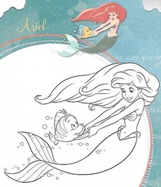 Ariel dancing with Flounder coloring page Disney Princess Toys, Disney Princess Coloring Pages, Disney Princess Colors, Mermaid Coloring Pages, Disney Princess Tattoo, Coloring Book Pages, Punk Princess, Tinkerbell Disney, Disney Paintings