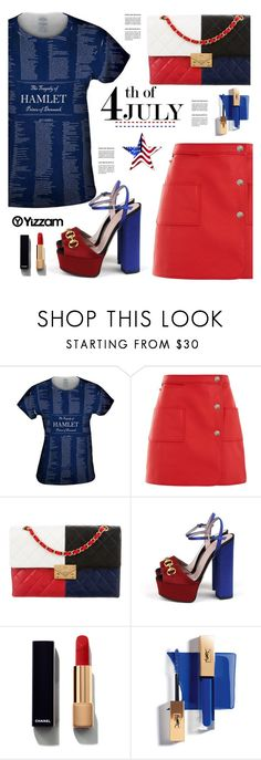 """""""Yizzam.com: 4th of July!!"""" by hamaly ❤ liked on Polyvore featuring Courrèges, Chanel, Gucci, vintage, ootd, blouse, 4thofjuly and yizzam"""