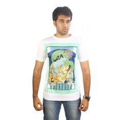 KRISHNA Funny Messages Tshirts for Mens in White Color, buy it now at tantratshirts.com