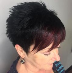 90 Classy and Simple Short Hairstyles for Women over 50 Black Choppy Pixie with Red Bangs Short Hair Cuts For Women, Short Hairstyles For Women, Short Hair Styles, Short Pixie Haircuts, Pixie Hairstyles, Pixie Bangs, Braided Hairstyles, Blonde Pixie, Latest Hairstyles