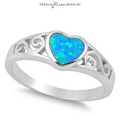 blue fire opal filigree design heart sterling silver ring size 6 7 8 9 10 women  #Unbranded #HeartRing