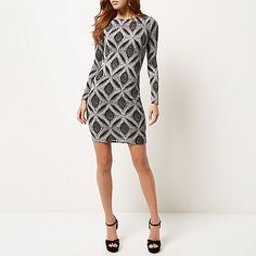 Silver sparkly metallic bodycon dress - bodycon dresses - dresses - women