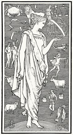 """Urania, from the Greek """"Ourania"""", meaning """"Heavenly"""", is the Muse of astronomy and astrology. Represented by the staff and celestial globe, she can foretell the future from the reading the positions of the stars. Her dark colors signify the night sky, and the mysterious veil behind which lie the secrets and mysteries of the universe."""