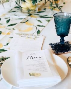 Lemon bridal shower menu design
