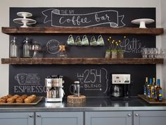 Home Coffee Bar With Chalkboard Wall