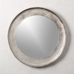 Rough-hewn aluminum in shiny silver finish frames round mirror in organic style. Adds natural elegance to the bedroom or living room. Mounting hardware is included. Large Round Mirror, Round Wall Mirror, Mirror Set, Black Mirror, Round Mirrors, Mirror Ideas, Cooler Spiegel, Handmade Mirrors, Home Decor Mirrors