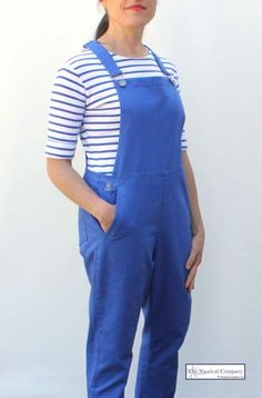 Women's Cotton Dungaree, Cobalt Blue Overall by MOUSQUETON GLAZY - THE NAUTICAL COMPANY UK #dungaree #overall #nauticalfashion #vintageblue #trendy #stripytop